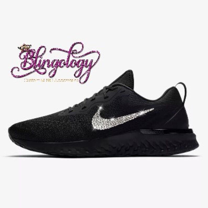 7e689991e3e1 Womens Nike Odyssey React Black Custom Bling Swarovski