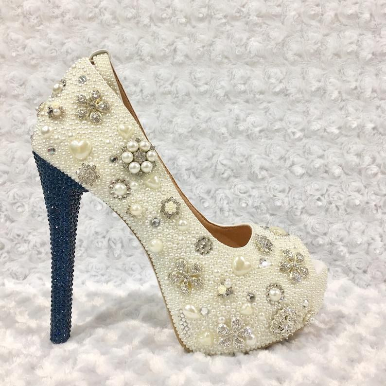 c6507d94502a Custom Womens Peep Toe Wedding Formal Swarovski Crystal