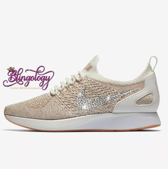 Womens Nike Air Zoom Mariah Flyknit Racer Sail Sand Gum Yellow White Swarovski  Crystal Bling Sneakers 25c84c5d2