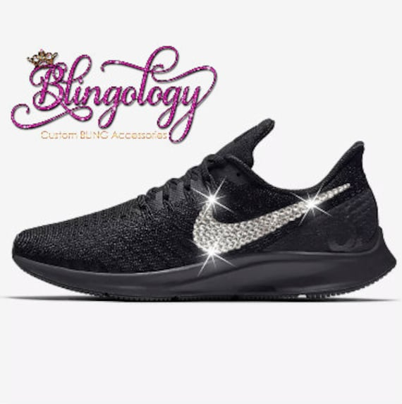 Womens Nike Air Zoom Pegasus 35 Black White Grey Custom  c4bb147d05