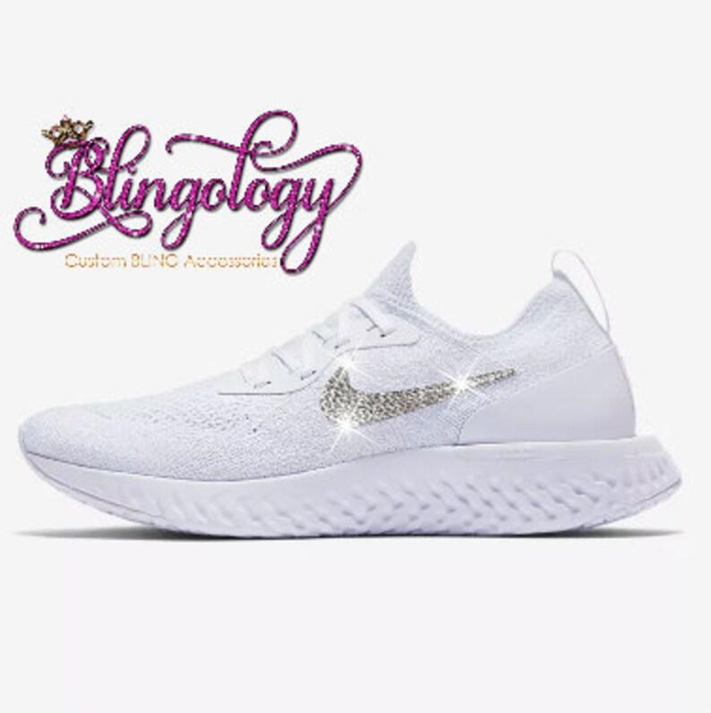 hot sale online dcbf9 2854c Womens Nike Epic React Flyknit White Custom Bling Swarovski   Etsy