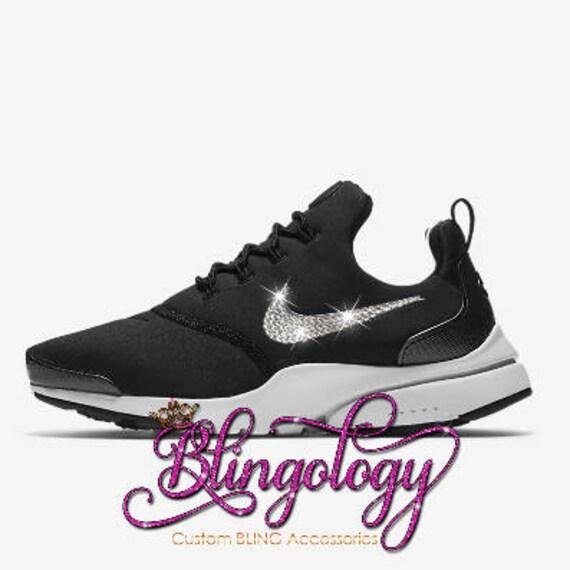 3b2edd043550 Womens Nike Presto Fly SE Black White Hematite Custom Bling