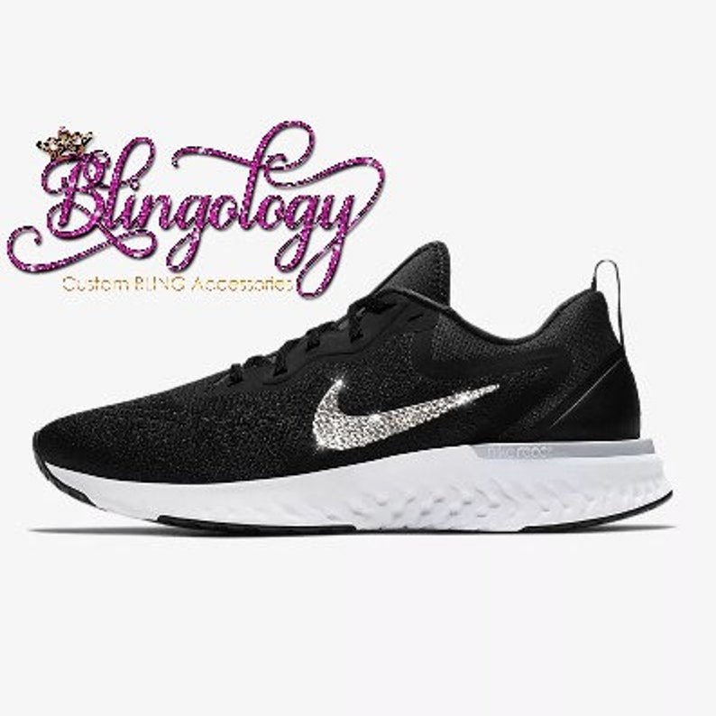 fe430d689444 Womens Nike Odyssey React Black Grey White Custom Bling