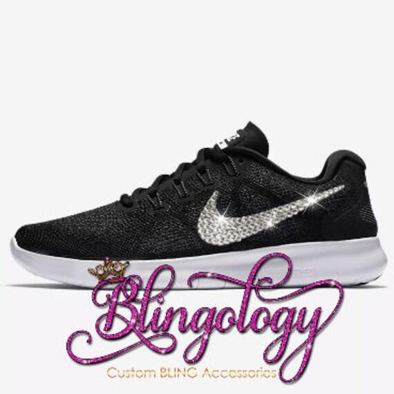10904545b48ace Custom Bling Womens Nike Free RN 2017 Black Grey White