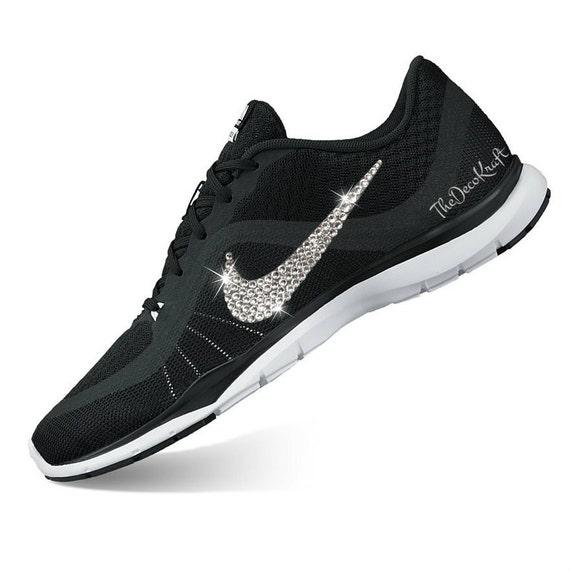 Womens Nike Flex Trainer 6 Black White Custom Bling Crystal  9c7f548aace0