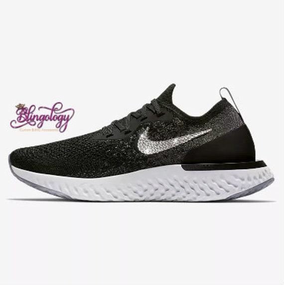 size 40 6a654 4a83f Womens Nike Epic React Flyknit Black Dark Grey Wolf Grey White   Etsy