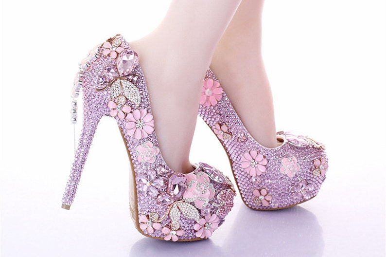 27bca6659f091 Custom Womens Wedding Shoes Formal Shoes Pink Flowers