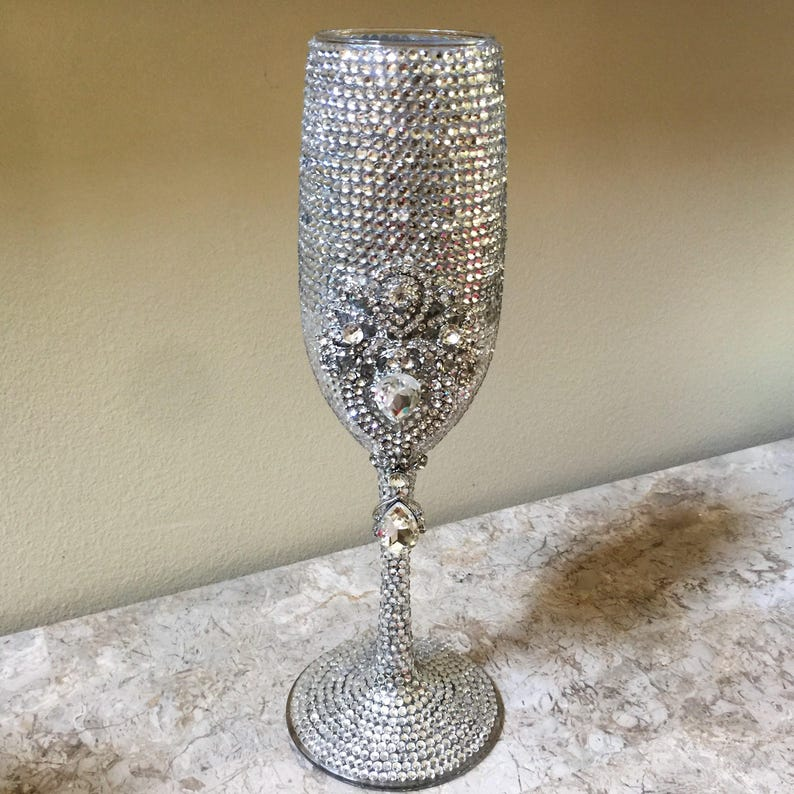 dbdea746271 Crystal Wedding Champagne Flutes Bling Wedding Flutes