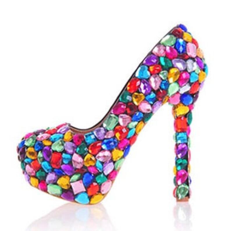 ea905ae7bb38 Custom Womens Wedding Shoes Formal Multi Color Crystal
