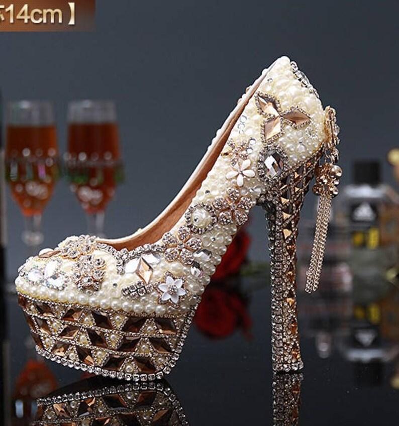 Custom Womens Wedding Shoes Formal Pearls Swarovski Crystal  920f0493eb6c
