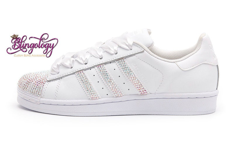 d90a4254c48a Custom Bling Womens Adidas Originals Superstar White Swarovski
