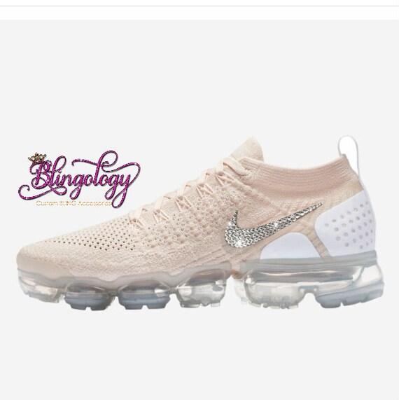 Womens Nike Air VaporMax Flyknit Lt Cream Metallic Gold Star White Custom  Bling Swarovski Sneakers b1703c2c4f