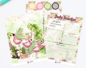 Juli Notizen Seite Tracker Aufkleber, erhältlich für den Einsatz mit klassischen HP und Erin Condren Planer, tropisches Paradies.