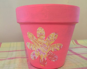 Pink flower pot etsy mightylinksfo