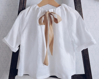 Light linen tunic with ribbons for a girl, top from natural flax | 26 colours available