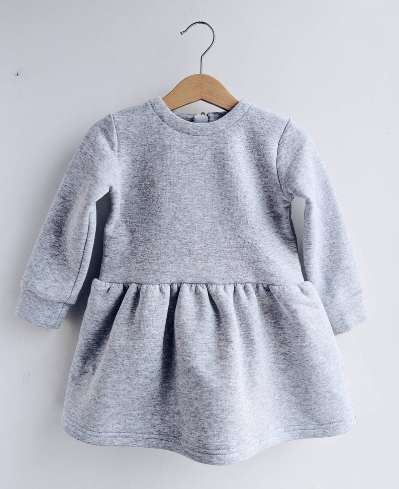 d346f9780672 Gray melange insulated dress winter dress warm cloth for