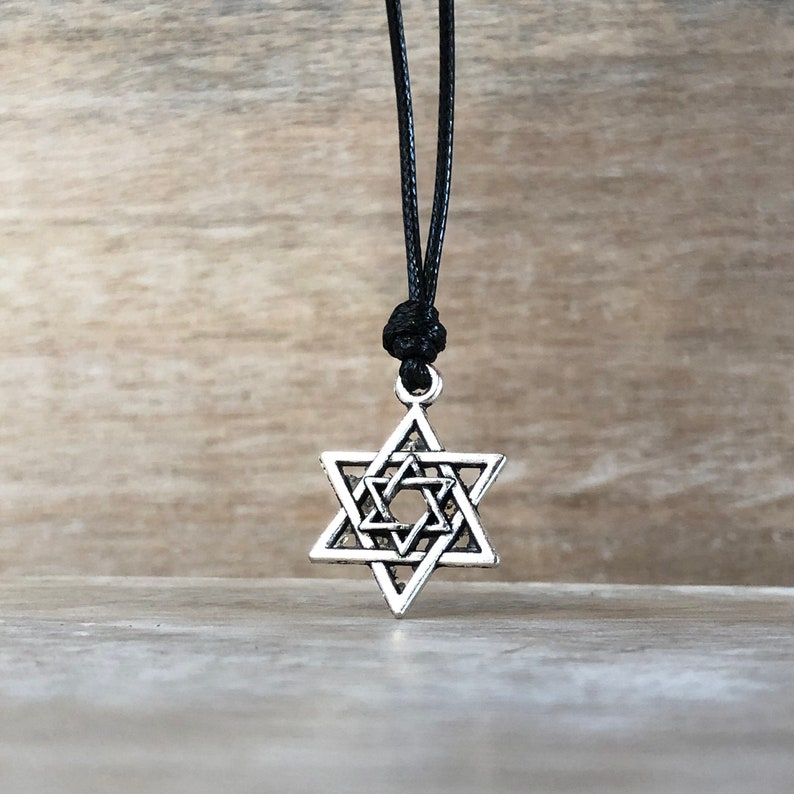 Mens Star of David Necklace Mens Necklace hanukah Jewelry Mens Jewish Jewelry Judaica Jewelry Hebrew Jewelry for Men Birthday Gift for Him