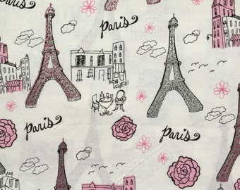 Paris Print Cotton Fabric, Medium weight Cotton Fabric, Eiffel Tower Print Cotton Fabric, Bag Making Fabric, Crafting Fabric, Cotton Fabric.