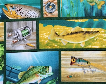 Fish Print Craft Cotton Fabric, Fat Quarter Craft Fabric, Quilting Fabric, Cotton Fabric. Fish Print Fabric, Gone Fishing Cotton Fabric.
