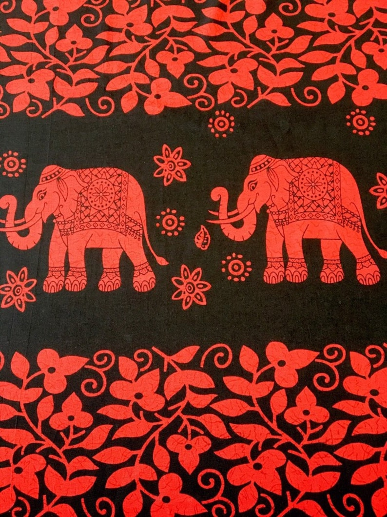 White on Red Elephant Design 100/% Cotton Fabric By The Metre