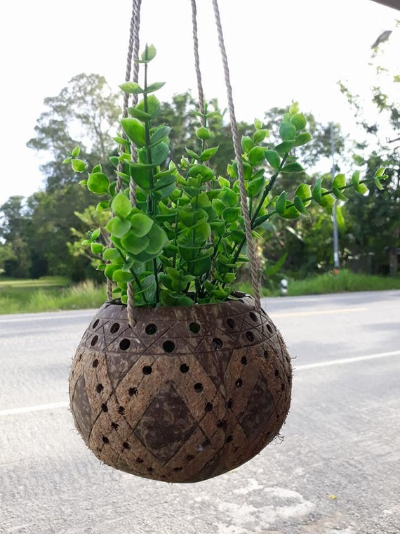 balcony flower baskets Handicraft Natural Coconut Shell Hanging Planter Pot With Rope Made Of Banana Peel Hanging Basket Flower Pot For Balcony Decoration