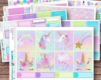 Party Unicorns Weekly Kit | Birthday Planner Stickers | ECLP | Happy Planner | Recollections Planner | Weekly Planner Stickers