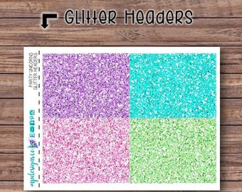 Party Unicorns Glitter Header Stickers | ECLP | Happy Planner | Recollections Planner