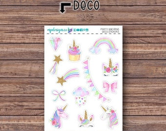 Party Unicorns Deco Stickers | ECLP | Happy Planner | Recollections Planner