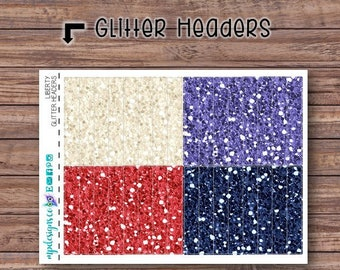 Liberty Glitter Header Stickers | ECLP | Happy Planner | Recollections Planner