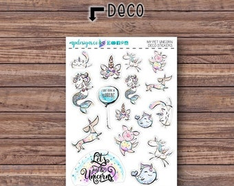 My Pet Unicorn Deco Stickers | ECLP | Happy Planner | Recollections Planner