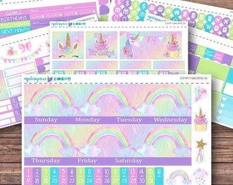 Party Unicorns Birthday Monthly Kit | Choose Your Month | ECLP | Happy Planner | Recollections Planner | Monthly Planner Stickers | Birthday
