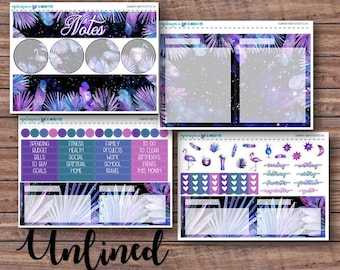 Summer Nights Notes Page Kit | Erin Condren Planner Stickers | Horizontal & Vertical | Monthly Notes Page
