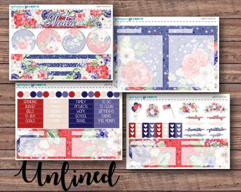 Liberty Notes Page Kit | Erin Condren Planner Stickers | Horizontal & Vertical | Monthly Notes Page