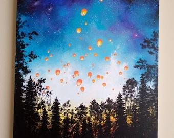 Paper Lanterns 24x36 Large Acrylic Painting on Canvas