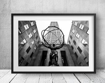 Rockefeller Center - New York Photography, Black and White, Architecture, Wall Art, NYC, Fine Art Print, Urban Art, Home Decor