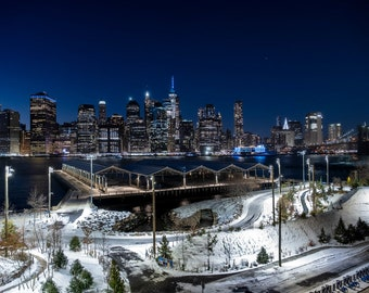 Snowfall Brooklyn Bridge Park 2020 - The Big Apple Collection | New York City, Wall Art, NYC, Fine Art Print, Urban Art,Home Decor
