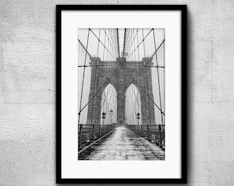 Brooklyn Bridge in blizzard - New York Photography, Black and White, Architecture, Wall Art, NYC, Fine Art Print, Urban Art, Home Decor