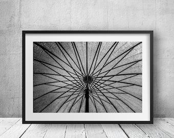 Umbrella - New York Photography, Black and White, Architecture, Wall Art, NYC, Fine Art Print, Urban Art, Home Decor
