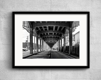 Rockaway Freeway - New York Photography, Black and White, Architecture, Wall Art, NYC, Fine Art Print, Urban Art, Home Decor