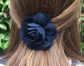 Flower hair clip, bridal hair clip, flower girl hair accessory, rose hair clip, bridesmaid hair, wedding hair, chiffon flower, bridal hair