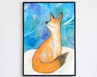 A4 Fox Watercolour Print, Cute Wall Art, Australian Made Art, Nursery Wall Decor, Cool Art Prints, Cute Fox Print