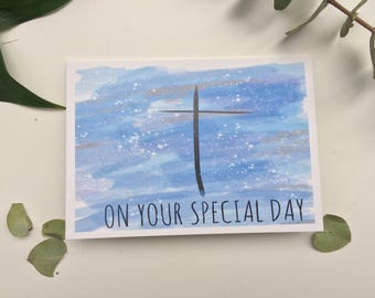 Christening card, religious greeting  card, on your special day card