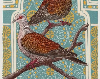 Two Turtle Doves, Linocut