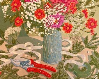 Allotment Bouquet, Linocut