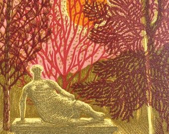 Henry Moore at the University of East Anglia (HM at the UEA) linocut