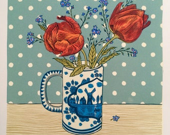 Tulips and Forget-me-nots, Linocut.