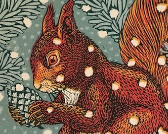 Red Squirrel, Linocut.