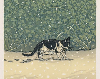 Minim in the Snow, Linocut.