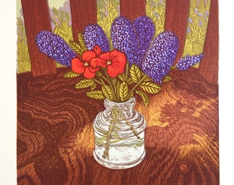 Inkwell with Ceanothus and Wallflower, Linocut