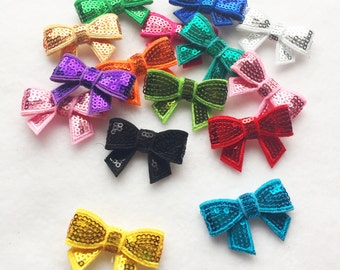 15pc mix colors glitter bows sew on bows glue on shiny bows headband appliqué bow girls hair accessory A101